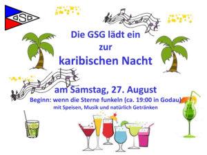 Einladung zur karibischen Nacht am Samstag, 29. August Beginn: